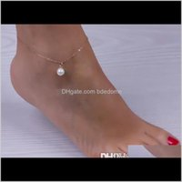 Drop Delivery 2021 Sexy Imitation Pearl Beads Gold Sier Alloy Ankle Chain Anklets Bracelet Foot Jewelry Barefoot Sandals Beach Aessories Kka1