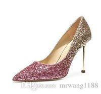2021 Wedding Party Women High heels Shoes Woman Pumps Fashion Bling Female Shallow Sexy Heels Nightclub Stilettos Shoes Size: EU34-40