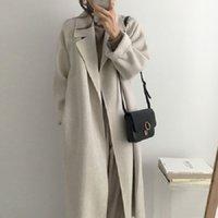 Winter Beige Elegant Wool Blend Vrouwen Koreaanse Mode Lange Jassen Vintage Minimalistische Wollen Overjas Oversize Uitloper