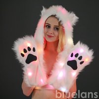 Hat Women LED Light Up Faux Fur Animal Ears Hood With Scarf Festival Supply Halloween Christmas Party Novelty Hats Beanie Skull Caps