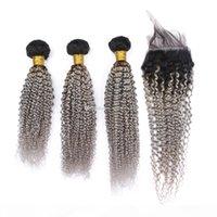 Ombre Color Silver Kinky Curly Hair 3bundles con cierre de encaje Dos tonos 1b Cabello gris Tejidos con cierre superior 4pcs Lot