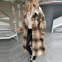 Women's Wool & Blends Winter Women Jacket Warm Plaid Long Coat Oversize Thick Woolen Female Streetwear