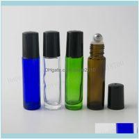 Bottles Jars Storage Housekeeping Organization Home & Garden100Pcs X 10Ml Cobalt Blue Green Amber Clear Glass Roll On Bottle 1 3Oz Stainless