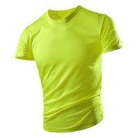 T-shirt à manches courtes Vêtements de séchage rapide pour hommes Été herbe verte respirante grand taille Sports d'été Soie de glace Top