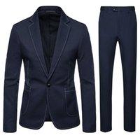 Elegante blaue schwarze Männer Anzug Casual Slim Fit 2 Stück Tuxedo Benutzerdefinierte Blazer Büroarbeitskleidung (Jacke + Hosen) Schöne Flut Herrenanzüge Blazer