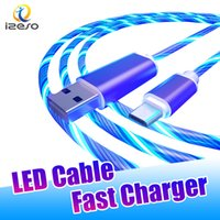 LED Flowing Light Cables 2A Fast Charging Line 3ft Type C Micro USB Cable Wire Phone Quick Charger Cord with Retail Package izeso