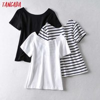 Tangada Women Striped Print Backless T Shirt Short Sleeve O Neck Tees Ladies Casual Tee Shirt Sexy Top AI69 210609