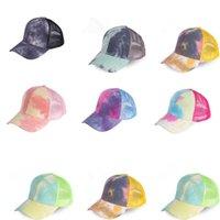 Baseball Cap Sun Visor Messy Tie Dye Ponytail Bun Mössor Tvättade bomull Snapback Boll Kepsar Sommar Utomhus Hat