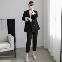 Plus Size 5XL Suit Trouser High-quality Double-row Jacket Feminine Office Interview Clothing 2021 Spring And Autumn Women's Suits & Blazers