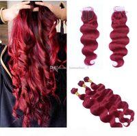 Malaysische Jungfrau-Haar-Bündel mit Spitzenverschluss Körperwelle Wein Rot 99J farbiges Haar mit 4 * 4 Spitzen-Top-Schließung Körperwellenweberg