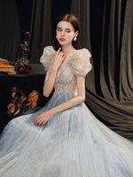 파티 드레스 그레이드 블루 긴 럭셔리 섹시한 환상 Llady 소녀 여성 공주 연회 공연 댄스 공 프로파일 드레스 무료 선박