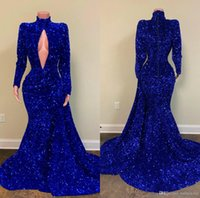 2021 Royal Blue Evening Dresses Luxury Beading Sequined High V Neck Sweep Train Mermaid Prom Dress Real Image Formal Gowns Party Wear