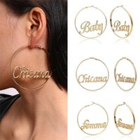 Dangle & Chandelier Exaggerate Large Smooth Circle Hoop Earrings For Women Punk Hip-hop Fashion Gold Color Metal Letter Drop Jewelry Gifts