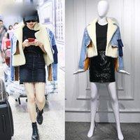 유럽 및 미국 양피 옷깃 전체 슬리브 데님 파란색 접합 의류 편지 인쇄 코트 윈드 브레이커 여성용 자켓