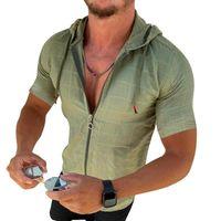 Men's Polos Fashion Long Short Sleeved Hoodie Zipper T Shirt Men Clothing Summer Solid Color Casual Plaid Print Open Stitch Thin Tshirt Mens