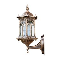 Lampada per lampada da parete anticata per lampada in alluminio Lanterna in vetro Lampada da giardino all'aperto 1368 V2