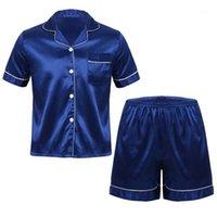 Erkek İpeksi Saten Pijama Set Kısa Kollu Düğme Aşağı Gömlek Üst Elastik Bel Boksör Şort Ile Pijama Loungewear Kıyafetler1