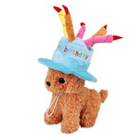 Dog Apparel Pet Cat Birthday Caps Hat With Cake Candles Design Party Costume Headwear Accessory Goods For Dogs