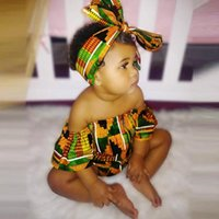 Rompers 0-24Months Toddler Baby Girls African Print Off Shoulder Romper Hair Band Bodysuits Clothes Body Neonato Fashion Tribal M4