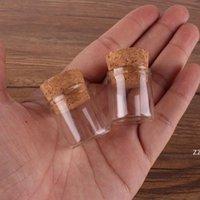 New22 * 25 mm 4 mm 4 ml Viales de vidrio pequeños Tubos de ensayo con tapón de corcho Vidrio vacío Botellas transparentes transparentes HWB8673