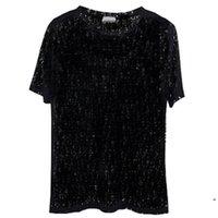 Bayan Erkek Vogue Tasarımcısı T-shirt Seksi Sheer Parti Giyim Kadının Polos Mektup Baskı Oymak Shirts Üst Yaz Hip Hop Streetwear Moda Tee Man Giyim Katı Tops