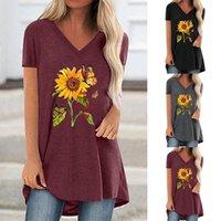 Дизайнерская женская одежда одежда одежда футболка повседневная топы золотые подсолнечника мода твердый цвет длинный с коротким рукавом большой круглый шеи платье