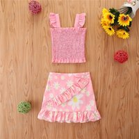 Baby Children Clothing Sets Girls Outfits Kids Clothes Kid Suits Summer Flower Tank Tops Skirt Striped Sweet Child
