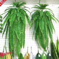 نبات اصطناعي العشب الأخضر النباتات وهمية ورقة معلقة كرمة السرخس زهرة الزخرفية الفارسية الزفاف ديكور المنزل محاكاة الزهور إكليل