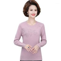 Женский свитер 2021 Весна Новый среднего возраста Мать О-образным вырезом бриллианты вязаные пуловер нижняя рубашка1