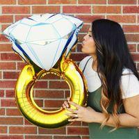 파티 장식 43 인치 큰 풍선 다이아몬드 반지 알루미늄 호 일 풍선 풍선 결혼식 헬륨 공기 이벤트 공급