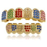 18K gold plated Diamond glaze grillz teeth Dental Grills hip hop bling body jewelry for men fashion silver gold will and sandy
