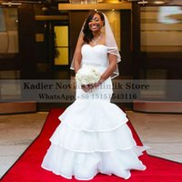 Other Wedding Dresses Long Nigeria African Mermaid Dress 2021 With Tiered Puffy Organza Sweetheart Corset White Bridal Gown1