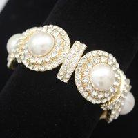 Cowgirl Art Deco 20s Great Gatsby Dome Autriche Casse-Crystal Bouffon Grand Bracelet Bracelet Femmes Bijoux Mode Perle Artificielle