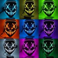 Halloween luminous clown mask black V word blood horror LED face host EL fluorescent atmosphere props spot