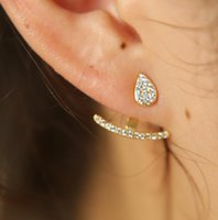 100% 925 Sterling Silver Micro Pave Sparking Bling CZ Tiny Cute Tear Drop Stud Dinty Girl Donne Doppia Giacche Laterale orecchino