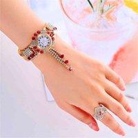 Designer Brand Brand Orologi Uxury Rhinestone Donne Braccialetto ES con anello 2 Set da donna Polso Relogio Feminino Reloj Mujer Montre Femme