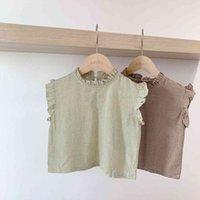 Koreansk stil sommar baby tjejer ärmlös plaid skjortor barnkläder ruffles väst toppar småbarn barn blouses
