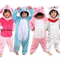 Franela niños pijamas conjunto para mujer ropa de dormir Invierno con capucha de invierno Animal Unicornio Stitch Kids Boys Girls Sleepwear Onesie Mujer Pijamas