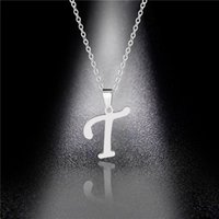 YUTONG Silver Color 26 Letters Jewelry English Alphabe Necklaces for Women Choker A B C D E F G H I J K L M N O P Q R S T U V W X Y Z 737 Q2
