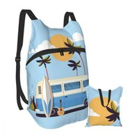 """YSL""""Backpack Foldable Waterproof Travel Men Bag Summer Vacation Surf Bus Sunset Tropical Beach Retro Surfing EiR"""