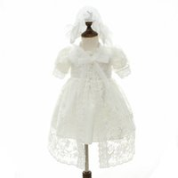newborn baby girl clothes lace baby girl baptism gown dress princess long baby girl dresses wedding newborn dress hat 2pcs A5930