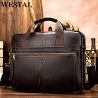 HBP Westal Aktentasche Messenger Echtes Leder 14 '' Laptoptasche Herren Aktentaschen Büro Business Tote für Dokument 8572 Q0112