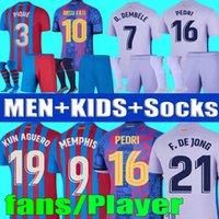 Camisetas de football Memphis Pedri Kun Jersey de football 2021 2022 Barca Fans Player Ansu Fati 21 22 Griezmann F. Jong Dest E.Royal Hommes Kit Kit Kit Ensembles Chaussures Chemise