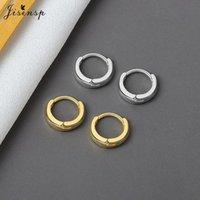 Jisensp Minimalist Round Hoop Earrings Punk Style Geometric Circle For Women Korean Fashion Jewelry Birthday Gift & Huggie
