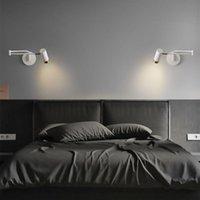 Lâmpada de parede Cabeçalho de cama de quarto de cama montado Ajustável Braço de leitura luzes da noite Switch Rocker E27 Luz de bulbo de substituição