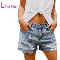 LIVA Kız Yaz Vintage Soluk Ve Sıkıntılı Jean Şort Pockets 2020 Artı Boyutu Kadın Rahat Delik Sıcak Kısa Denim S-XXL Y0524