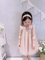 High Quastity Summer Baby Girls Vestidos Niños Chica Lace Cotton Vestido Niños Rosa Rosa Tops 80-160 Tamaño