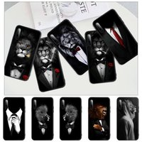 Man Lion Suit Shirt Tie Black Silicone Mobile Phone Case Cover For Galaxy S9 S10 S20 S21 S30 Plus Ultra S10e S7 S8