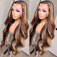 "Lace Wigs Highlight Transparent Brazilian Body Wave Wig Honey Blonde 28"" 13x6 Front 180% Virgin Way Human Hair"