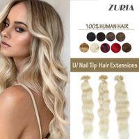 ZURIA U Nail Tip Machine Made Remy Extensions Keratin Human Fusion Curly 20inch 1g ps 50g 100% Natural Real Hair